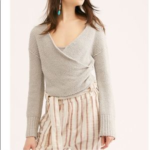 NWOT Free People Grey Wrap Cropped Sweater